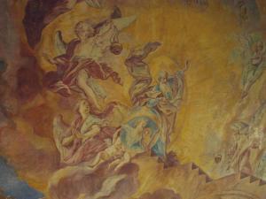 Detail fresky nad hlavním schodištěm.