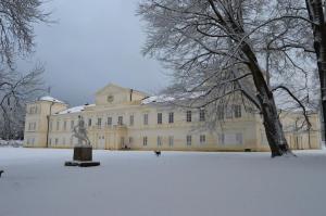 Zámek Kynžvart v zimě.